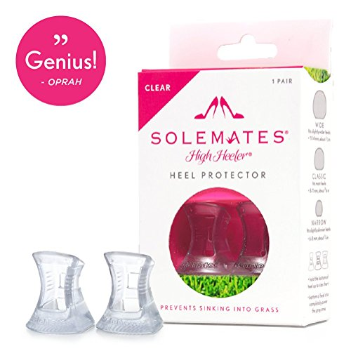 Never sink into the grass again.The Solemates High Heeler heel protector attaches easily to most stiletto and kitten heels to prevent your heels from getting stuck in uneven surfaces and allowing you to stay high on grass, cobblestones, and m...
