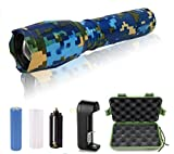 5starsuperdeals Rechargable Plastic/Aluminum 5-mode, Adjustable-focus, Ultra-bright LED Flashlight Kit Camo Blue