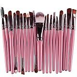 BCDshop 20 pcs Makeup Brushes Set Wool Make-up Toiletry Kit Professional Face Eyeliner Lips Blush Contour Foundation Cosmetic Brushes Set Tools (Pink)
