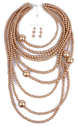 Shineland Multilayer Strand Simulated Faux Pearl Statement Long Sweater Chain Necklace And Earrings Set (Style # 6 ()