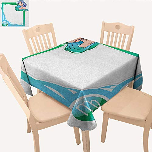 (longbuyer Zodiac Virgo Fabric Tablecloth The Sixth Sign from The Series of Zodiac Frames in Cartoon Style with a Girl Kitchen Table Cover Multicolor W 60