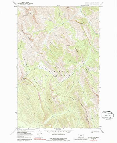 (YellowMaps Gateway Pass MT topo map, 1:24000 Scale, 7.5 X 7.5 Minute, Historical, 1968, Updated 1987, 26.8 x 22 in - Paper)