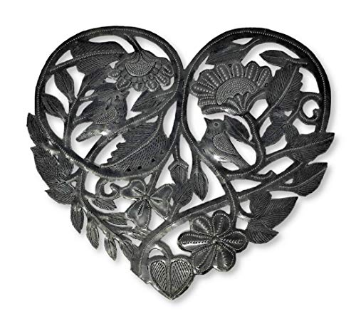 Heart Wall Decor, Haitian Metal Hanging Art, Rustic Decoration with Flowers and Birds, Home Accent, Love, Friendship, Unique, Handmade, 11 x 10 inches (Organic Heart)