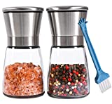 Premium Salt and Pepper Grinder Set of 2 - Refillable Coarseness...