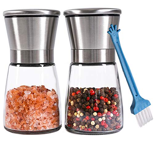 (Premium Salt and Pepper Grinder Set of 2 - Refillable Coarseness Adjustable Stainless Steel Salt and Pepper Mill Shakers With Lid 6 OZ Glass Body And Free Cleaning Brush)