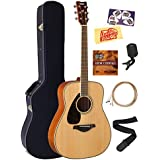 Yamaha FG820L Left-Handed Solid Top Folk Acoustic Guitar - Natural Bundle with Hard Case, Tuner, Strings, Strap, Picks, Austin Bazaar Instructional DVD, and Polishing Cloth