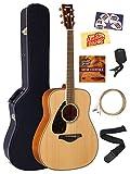 Yamaha FG820L Left-Handed Solid Top Folk Acoustic Guitar - Natural Bundle with Hard Case, Tuner, Strings, Strap, Picks, Austin Bazaar Instructional DVD, and Polishing Cloth