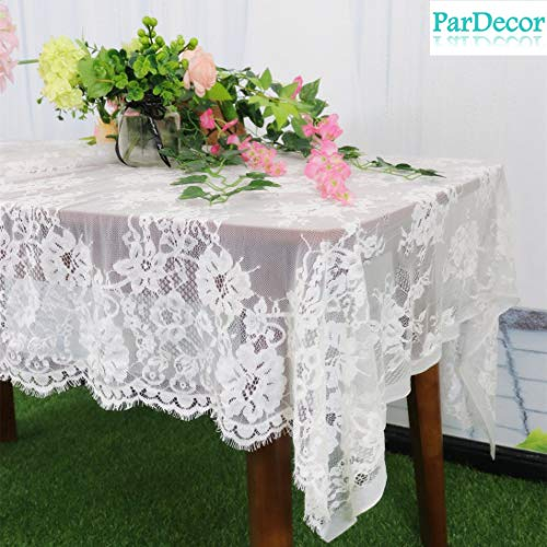 - ParDecor Vintage Lace-Tablecloth African French Lace Fabric 60x120-Inch Eco-Friendly Embroidery Lace Fabric Fancy Design Nylon Lace Table Cloths Design