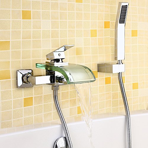 JinYuZe Modern Brass Wall Mounted Bath Tub Filler Faucet Chrome Finish with Glass Waterfall Spout (With Hand Shower Parts) (Lever Single Bath Filler)
