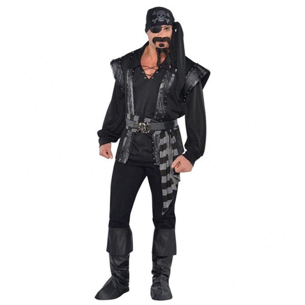 M L shoperama Pirat Costume de voiturenaval pour Homme avec Rivets et Rivets Noir
