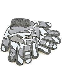Childrens Boys Camo Design Winter Magic Gloves (One Size) (Grey)