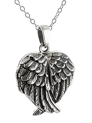 Sterling Silver Crossed Angel Wings Heart Locket Necklace, - Silver Winged Heart