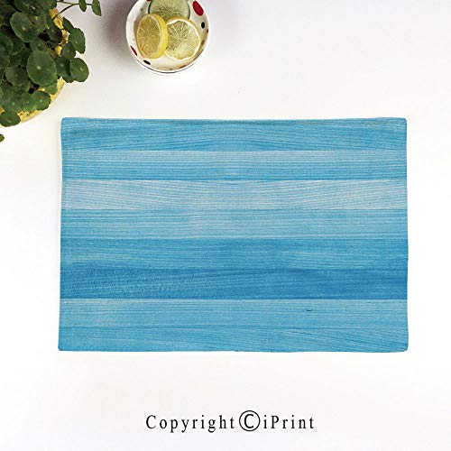 s Set of 6,Washable Fabric Placemats for Dining Room Kitchen Table Decoration,Wooden Planks Painted Texture Image Oak Tree Surface Maple Pine Board Stripes Decorative,Light Blue ()