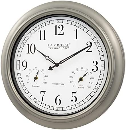 La Crosse Technology 404-1946-INT 18-Inch Indoor Outdoor Classic Plastic Pewter Atomic Analog Clock