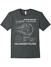 Millennium Falcon Grey Schematics Graphic T-Shirt