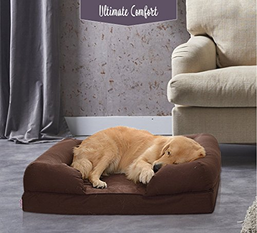 Petlo Orthopedic Pet Sofa Bed - Dog, Cat or Puppy Memory Foam Mattress Comfortable Couch for Pets with Removable Washable Cover (Large - 36'' x 28'' x 9'', Chocolate Brown) by Petlo (Image #8)