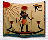 A.Monamour Ancient God Sun Ra Old Egyptian Faith Icon Traditional Brown Print Fabric Tapestry Wall Hanging Décor for Dorms 153x130cm/60''x51''