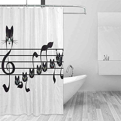 Homrkey Printed Shower Curtain Music Decor Collection Notes Kittens Cat Artwork Notation Tune Children Halloween Style Pattern Travel Shower Curtain W72 xL72 Black Green Blue]()