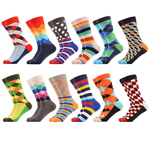 WeciBor Men's Dress Party Colorful Funny Cotton Crew Socks 12 -