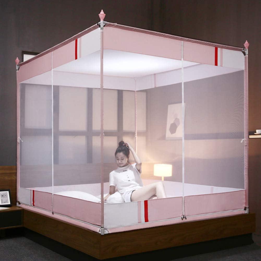 蚊帳テント,モンゴルユルトドームネット ベッドの装飾のための3つの開口部が付いている4コーナーベッドキャノピー-ピンク