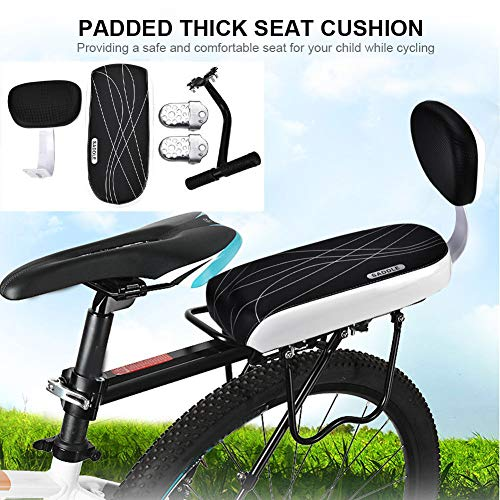 (Maserfaliw ?Bike Rear Seat Footrest SetBicycle Bike Rear Seat Cushion Rack Armrest Footrest Set Child Safety Back Seat, The New Location of The Bike.)