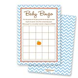 MyExpression.com 24 Cnt Pumpkin Blue Chevron Baby Shower Bingo Cards