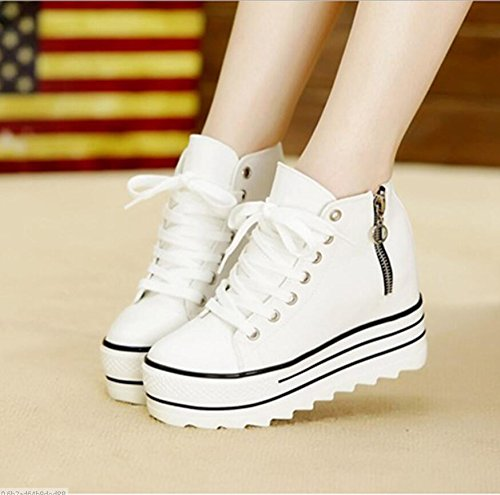 KHSKX-To Increase The Canvas Shoes 10Cm The Student Sponge Cake Thick Shoes The Korean Version Of The High-Help Black 38 pyaBFpR9gl