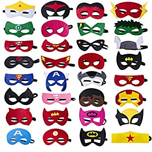 Darller 32 Pcs Halloween Felt Masks Superhero Party Supplies Superhero Mask for Children Aged 3+