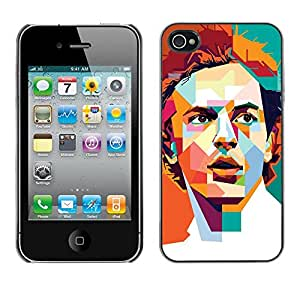 LECELL--Funda protectora / Cubierta / Piel For Apple iPhone 4 / 4S -- Polygon Art Retro Man Poster Guy --