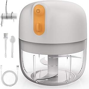KALUSI Electric Mini Garlic Chopper/Food Processorfor Garlic, Vegetables, Onion, Meats, BPA Free (1 Cup/250ML)