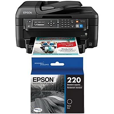 Epson WF-2750 All-in-One Wireless Color Printer with Scanner, Copier & Fax and Epson DURABrite Ultra Standard-Capacity Ink Cartridge, Black (T220120) Bundle
