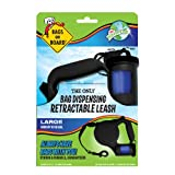 Discontinued By Manufacturer - Bags on Board Retractable Dog Leash with Built-in Bag Dispenser, Large, Black, 45 Bags