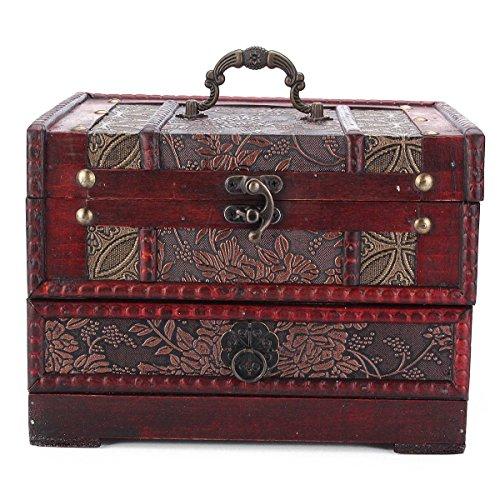 Charminer holz großen schmuck Kiste mit Spiegel 2 Schichten Kosmetische Koffer holz Schmuckschatulle
