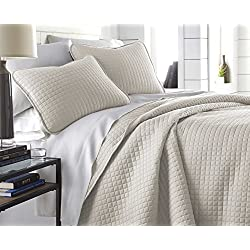 Southshore Fine Linens - Vilano Springs Oversized 3 Piece Quilt Set, Full/Queen, Bone