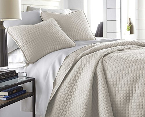 Southshore Fine Linens - Vilano Springs Oversized 3 Piece Quilt Set, Full/Queen, (Bone Quilt)
