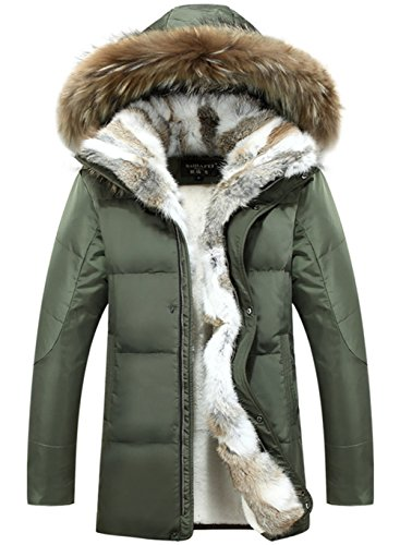 CYVVV Mens 90% Duck Down Hooded Luxurious Down Fur Coat Jacket Rex Fur Collar (US X-Large, Green)