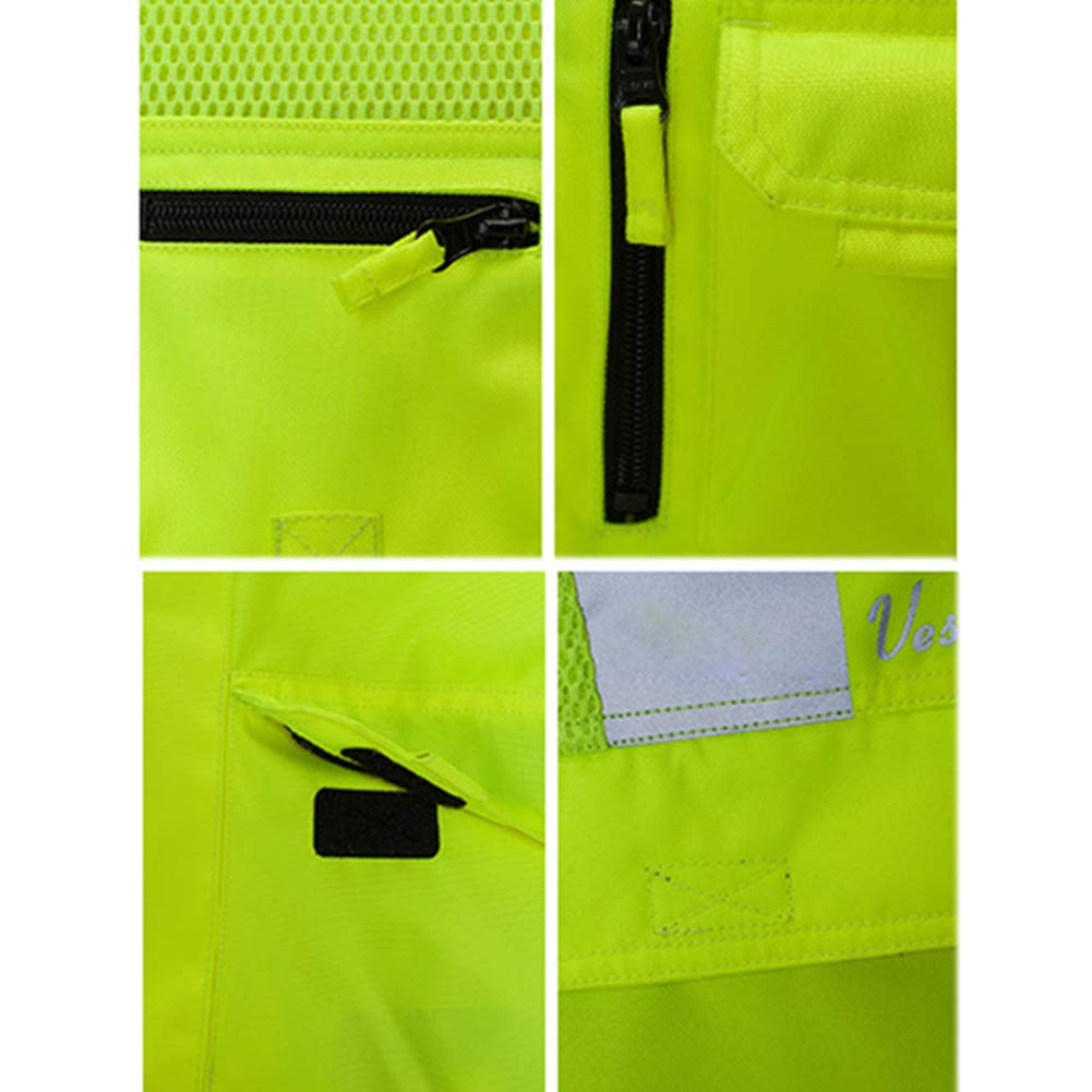 TZTZD Professional Safety Motorcycle Vest High Visibility Jacket Fluorescent Crease Resistant Reflective Strips Zip with Large Pockets,XXL(70~80KG) by TZTZD (Image #6)