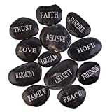 PMLAND Inspirational Bulk Faith Black Stones (12 Different Words- Large 2-3 inches) from