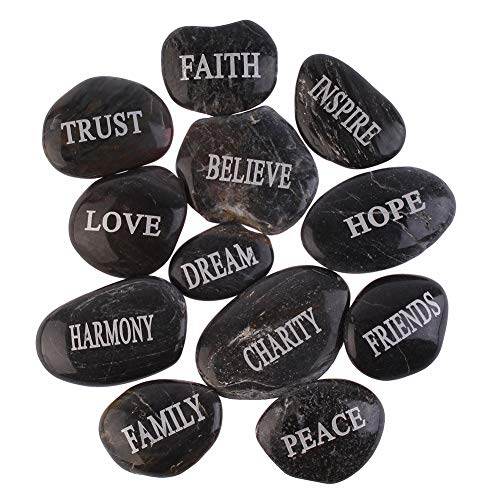 Inspirational Bulk Faith Black Stones (12 Different Words- Large 2 – 3 Inches ) from PMLAND