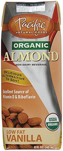 Pacific Natural Foods Organic Almond Non, Dairy Beverage, Low Fat Vanilla, 8 oz, 4 ct