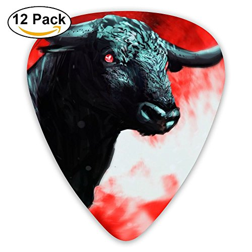 12-pack Fashion Classic Electric Guitar Picks Plectrums Bulls Painting Instrument Standard Bass Guitarist]()