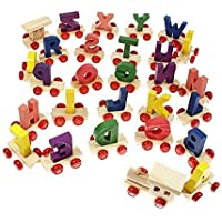 Lakshya India Wooden A to Z Train Set Multiple Colored 26 Alphabet with Engine and Last Trail in Fine Finish Quality