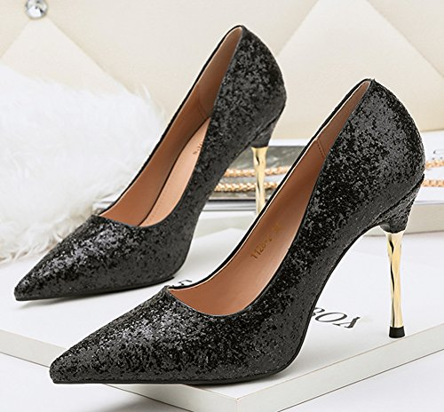 Aisun Womens Sparkly Sequins Dressy Low Cut Stiletto High Heel Pointed Toe Slip On Pumps Shoes Black bI6HXi