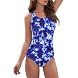 Zando Womens Bathing Suits One Piece Swimsuits Athletic Training Swimsuit Tummy Control Swimwear Swim Suits Blue-White Print 10-12