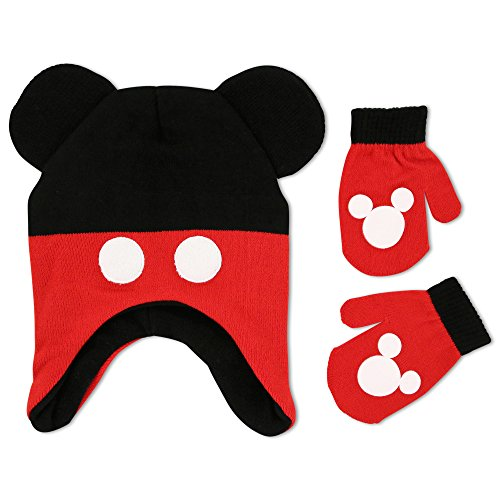 Mickey Mouse Ears With Gloves (Disney Toddler Boys Mickey Mouse Clubhouse Character Hat and Mitten Cold Weather Set, Age 2-5)