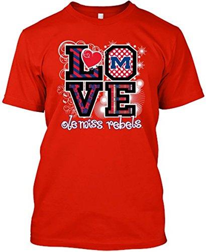 NCAA Love T-shirts - Alabama, Arkansas, Auburn, Clemson, Florida, FSU, Georgia, Kentucky, LSU, Mississippi St., Ole Miss, South Carolina, Tennessee, Texas A&M (Ole Miss Rebels, X-Large)