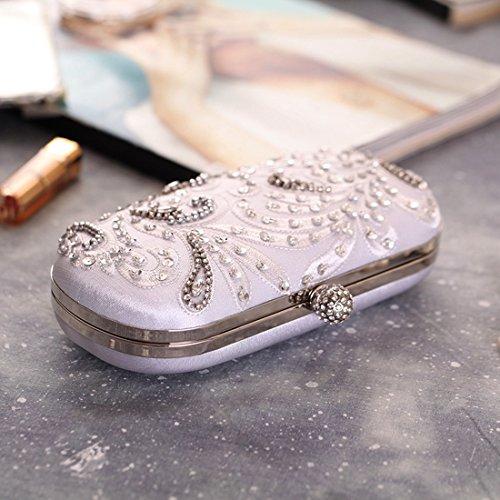 Mano Donna Con A Perline Da Diamante Serale Sera Di Pacchetto Ricamato Per Borsa Lavorazione Fly RIq8w