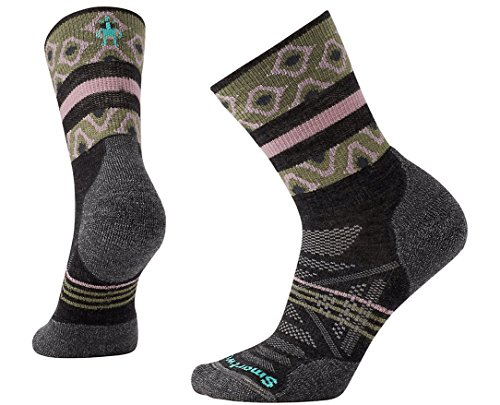 Smartwool Women's PhD Outdoor Light Pattern Mid Crew (Charcoal) Medium