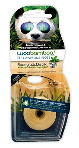 Woobamboo Biodegradable Silk Dental Floss with Natural Beeswax and Organic Mint 37.5 m by WooBamboo