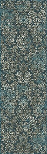 KAS Oriental Rugs Provence Collection Damask Runner, 2'2X 6'11, Slate Blue by KAS Oriental Rugs